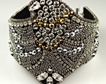 Eagle Swarovski  Bead Embroidery Statement Cuff  Bracelet