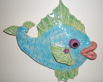 Hand sculpted clay Lt Blue and Lime Green hanging Fish