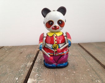 Vintage China Panda Tin Litho Drummer Bear Wind up