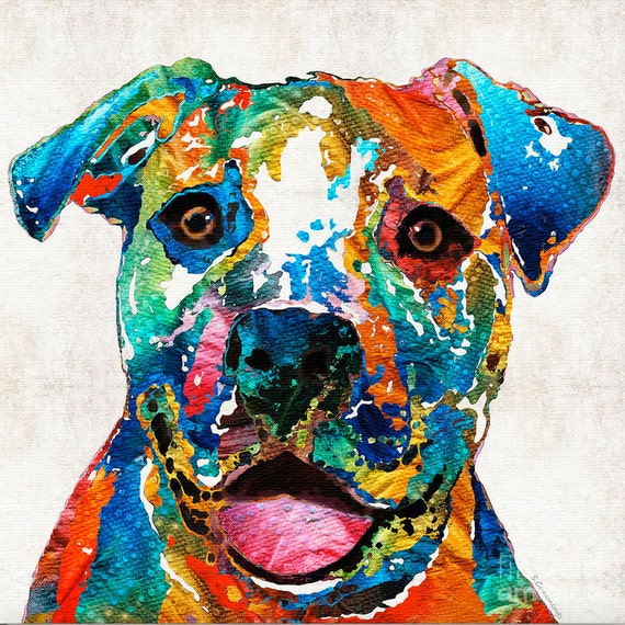 Colorful dog pit bull animal art print from painting primary for Abstract animal paintings