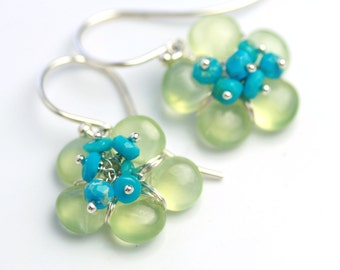 Special Offer - Prehnite Flower Earrings with Sleeping Beauty Turquoise Clusters. Sterling Silver.