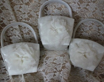 3 Cream Flower Girl Baskets-Custom Colors