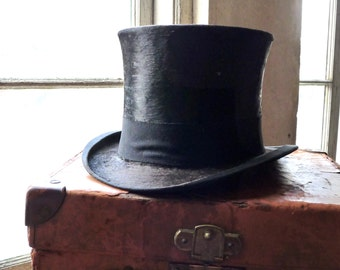 Gents Collins & Fairbanks Top Hat With Leather Hat Trunk