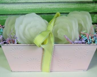 Sweet Shabby Cottage Chic Rose Floating Candle Gift Tin, Shabby Wedding Gift, Bridal Shower Gift, Birthday Gift