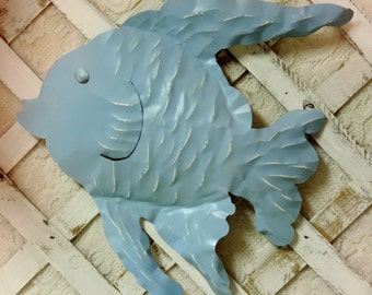 Beachy Blue Metal Fish Wall Decor, Shabby Beach Cottage Decor, Painted and Distressed