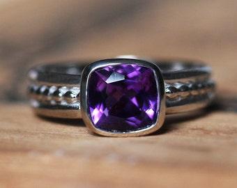 Amethyst ring gold, bezel ring, purple amethyst ring, 14k palladium white gold ring, Crush style beaded band, handmade amethyst ring, custom