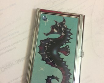 Retro SEAHORSE Business Card Holder Credit Card I.D. Case