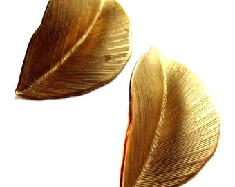 Raw Brass Single Leaf Pendants - Large (4X) (M713-A)