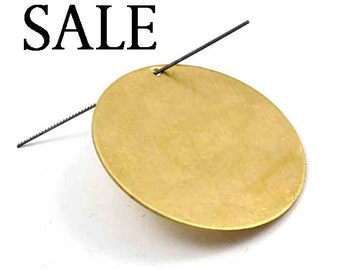 Raw Brass Engraving Circle Charms - with hole - 38mm (4X) (M625) SALE - 25% off