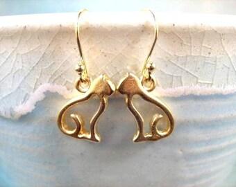 Gold CAT Earrings, On Little Cat Feet, Gold Dangle Earrings, FREE Shipping U.S.