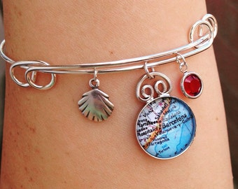 Barcelona Spain Map Charm Bracelet - Adjustable Bangle - Choose your charm and birthstone
