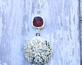 Garnet Faceted Glass Essential Oil Diffuser Necklace Silver Diffuser Locket
