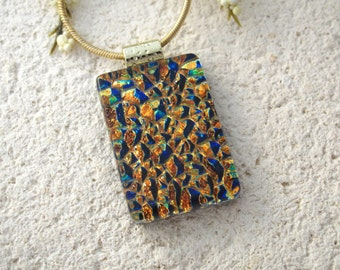 Golden Blue Necklace, Dichroic Jewelry, Gold Necklace, Fused Glass Jewelry, Dichroic Glass Necklace, Gold Pendant, Ccvalenzo, 061117p100