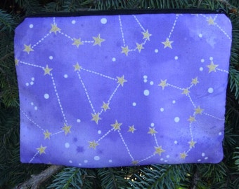 Constellations zippered bag, makeup case, zippered pouch, accessory bag, The Scooter, Pick from 4 colors