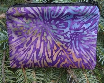 Batik coin purse, gift card pouch, credit card pouch, Grape Starburst Batik, The Raven