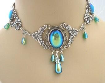 Handmade elven green renaissance fantasy necklace - Jessica 3 - RARE
