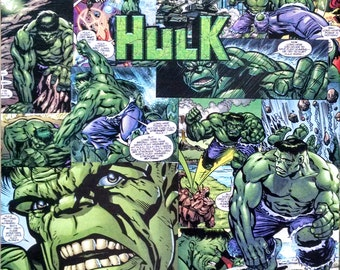 The Incredible Hulk Decoupage Comic Collage Canvas