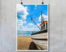 Fishing boat on shingle beach in Kent blue sky summer 12x8 18x12 20x30 20x16 photographic wall art home decor photo big print poster display