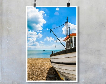 Fishing boat on shingle beach in Kent blue sky summer 12x8 18x12 20x30 20x16 photographic wall art home decor photo big print poster display