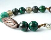 Turquoise Leather Smoky Quartz Silver Bracelet, Lucite Bronze Bead Bracelet, Leather Turquoise Boho Bracelet, December Birthstone Bracelet