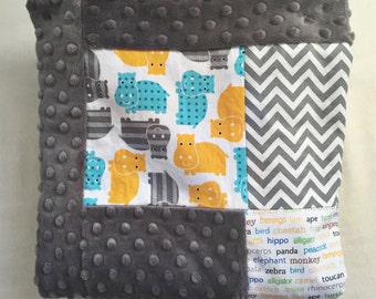 Hippo/Zoo Animal Baby Blanket - Boy or Girl