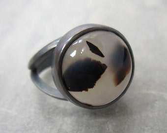 Montana Moss Agate and Sterling Silver Ring Size 7 1/8