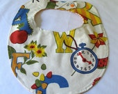 Baby Feeding Bib, Alphabet Letters Cotton and Flannel Reversible Baby or Toddler Children's Baby Bib - Newborn Gift, Shower Gift, New Baby