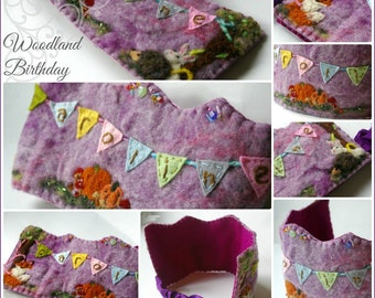 Woodland Birthday Crown: Custom Made Waldorf Style Wool Crown (You Choose Name, Colors and Other Details)