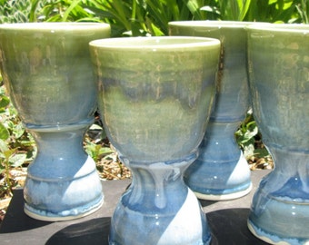 Set of Four Handthrown Goblets in Shades of Turquoise
