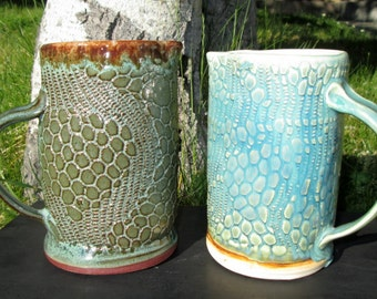 Handbuilt Stoneware Pitcher or Sauce Boat in Shades of Turquoise