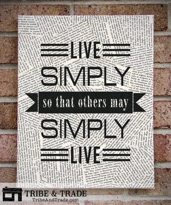 Quote wall art live simply so that others may by tribeandtrade for Live simply wall art