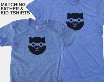 SALE! Matching Father Child TShirt, Bandit Cat, Father Son Matching, Father Daughter Matching, Dad Baby Matching, Cat Shirt Gift