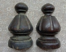 """Two Vintage Salvage Furniture Architectural Wood Trims Ornaments 4-3/4 """" Tall"""