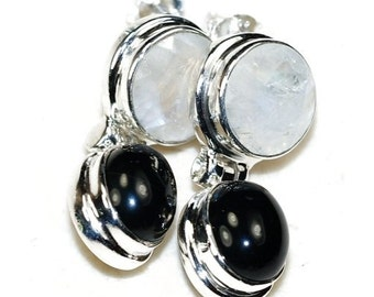 Moonstone and Black Onyx Sterling Silver Earrings