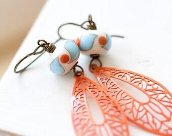 Orange and Blue Earring, OOAK Lampwork Earrings, Vintage Filigree Earrings, Mother's Day BFF Gift for Her Mom Sister Aunt under 30 dollars