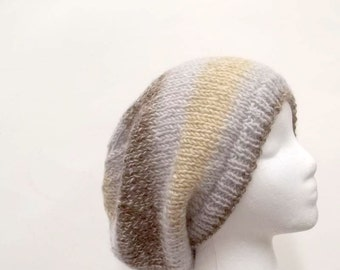 Oversized beanie hat, hand knitted, large size, slouch hat    5133
