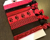 Red and Black Paw Print Chevron Glitter Ruffle Hair Tie Set ... 7 ct.