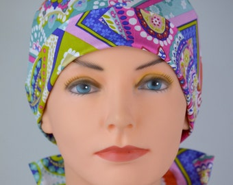 Surgical Scrub Hat or Chemo Cap- The Mini with Fabric Ties- Handkerchief Paisley