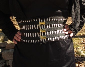 Black & White Stripe Gothic Steampunk Belt