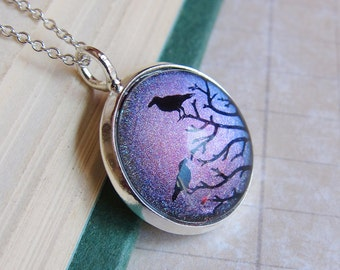 Prism Collection - The Ravens Waiting - Color Changing Bird Print Pendant