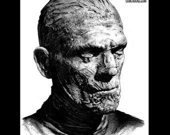 "Print 8x10"" - The Mummy - Frankenstein Portrait Dracula Classic Monster Horror Halloween Pop Gothic Vintage Dark Art Lowbrow Wolfman"