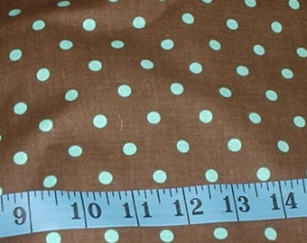 "Michael Miller Dumb Dot Chocolate Brown Light Blue Dots Fabric-1 yard-58""wide"