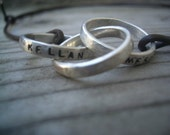 Interlocking Intertwined Rolling Rings Russian Wedding Ring Leather Necklace Father's Day Gift