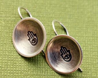 Hamsa Khamsa Hand of Fatima Sterling Silver Dome Earrings Dangle
