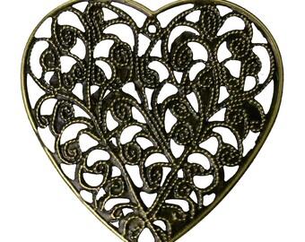 12pc 49mm antique bronze heart shape filigree wraps-9851