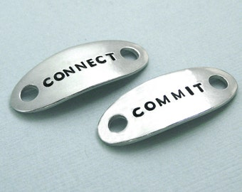 READY TO SHIP - Connect Commit - Dog Agility Shoe Tags - Hand Stamped Pewter - Dog Agility Gift - Mach Gift - Shoe Plates - Canine Agility