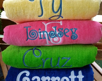 Set of 4 Embroidered Personalized Beach Towels - Custom gifts