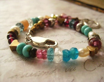Gemstone Bracelet, Sterling Silver, Bohemian Style, Mixed Metals, Hill Tribe Bead, Genuine Turquiose, Red Garnet, Aquamarine Gem, Boho style