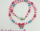 Girls Butterfly Necklace, Kids Necklace, Kids Jewelry, Pink Blue Beaded Necklace, Childrens Necklace, Etsy Canada, Bead Necklace with Charm