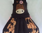 Horse Applique Tank Top Strip Work Skirt